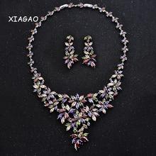 XIAGAO AAA Cubic Zirconia Luxury Elegant Wedding Jewelry Set 1 Pair Flower Stud Earrings & 1 Bridal CZ Stone Statement Necklace