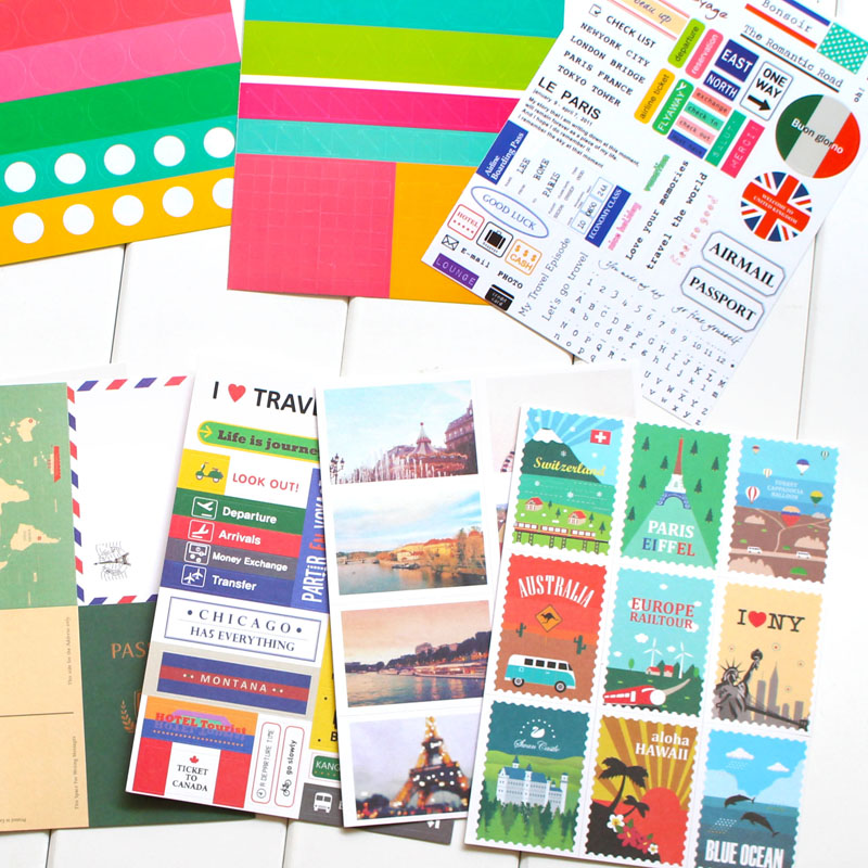 12 Sheets Paper Stamp Sticker Diy Vintage Retro Classic Travel