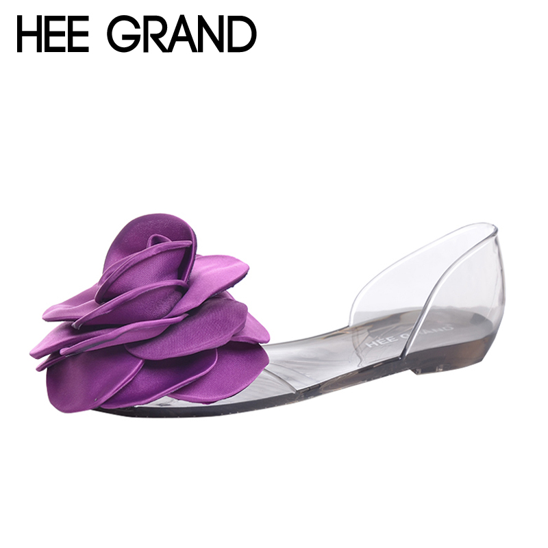 HEE GRAND Jelly Sandals 2017 New Beach Jelly Shoes Woman Hot Summer Sweet Flower Slip On Flats Casual Women Shoes XWZ4481 instantarts women casual light beach flats sandals 3d skull punk printed air mesh slip on woman slipper ladies comfortable shoes
