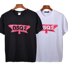цена на DSQICOND2 DSQ Brand 2019 Casual T-shirts DSQ Printed Tops male Female Summer Casual Cotton Short Sleeve Tees Loose Couple Tops