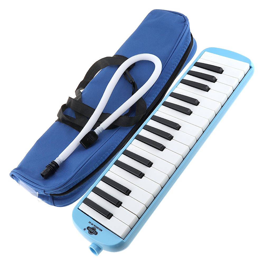<font><b>32</b></font> <font><b>Key</b></font> Harmonica <font><b>Melodica</b></font> Teaching Instrument with Deluxe Carrying Case for Beginner image