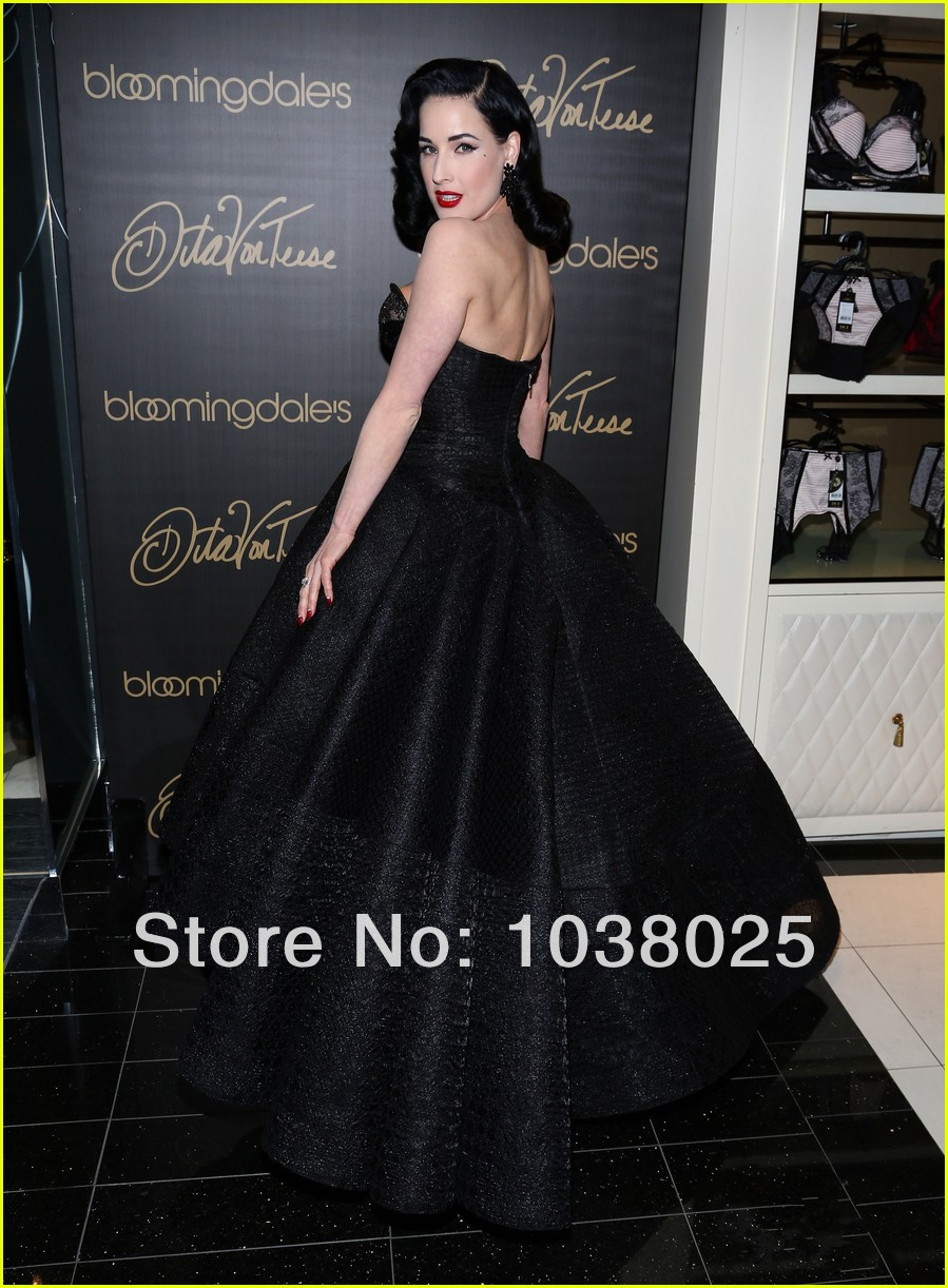 fashion 2014 dita von teese party dresses ball gown sweetheart backless  beads sequins ankle length black celebrity evening dress-in Celebrity- Inspired ... bd58e9fac3f5