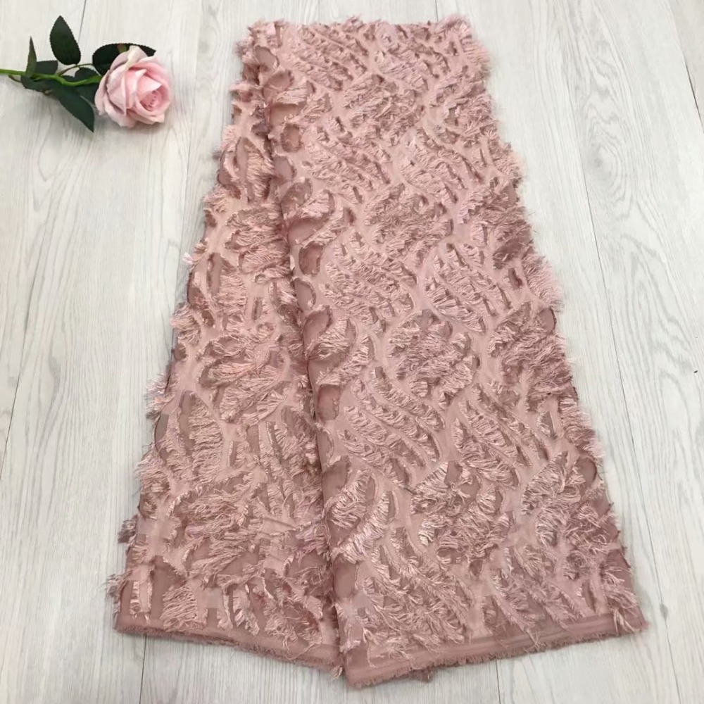 Peach African Lace Fabric 2018 Embroidered Nigerian Lace Fabric Bridal High Quality French Tulle Lace Fabric