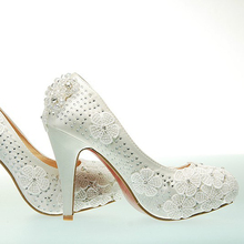 Sweet princess lace flower wedding shoes single shoes  bridal Dress Shoes bridesmaid shoes formal dress