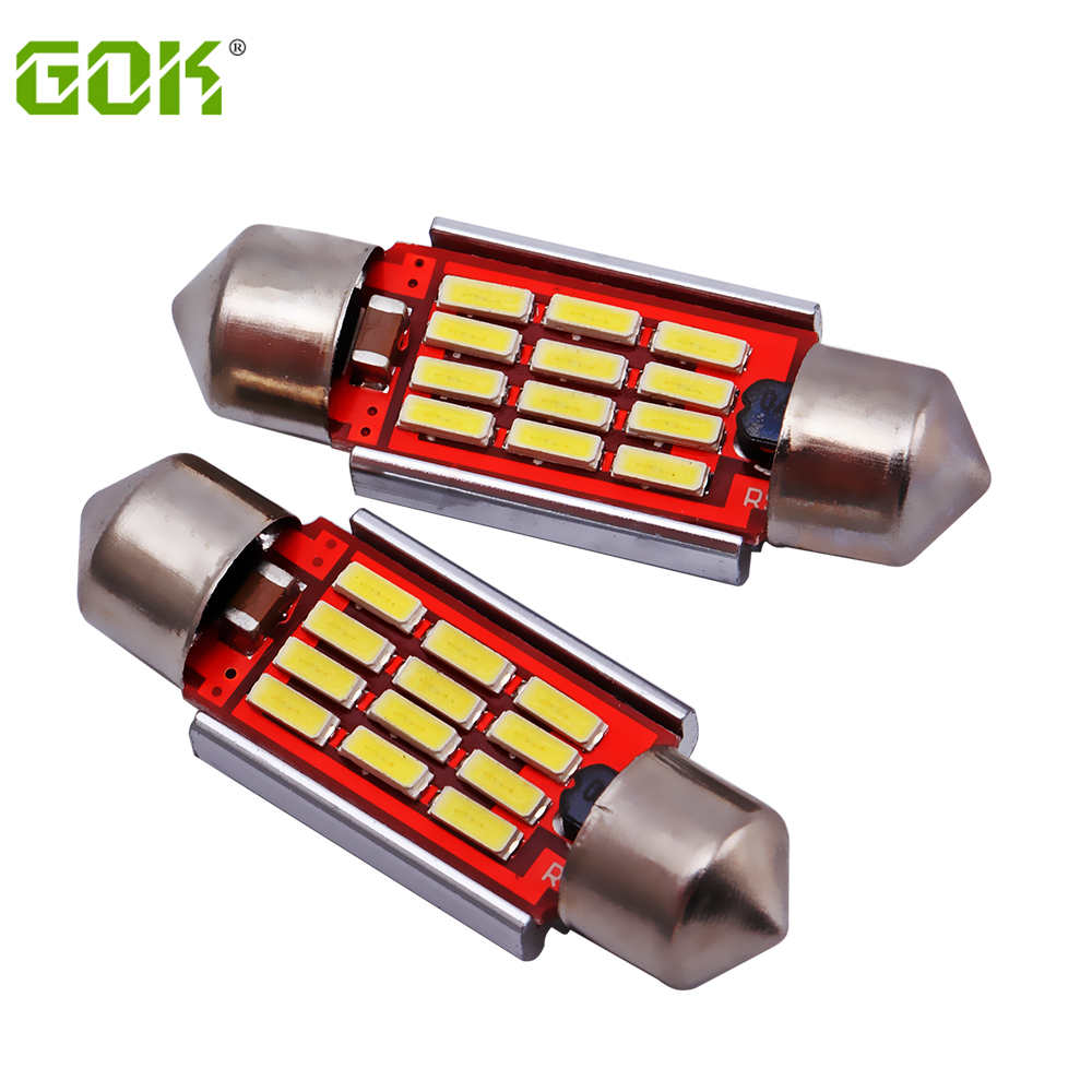 10X 39mm 4014 12 SMD C5W LED Canbus Festoon Dome Lamp Car License Plate Light