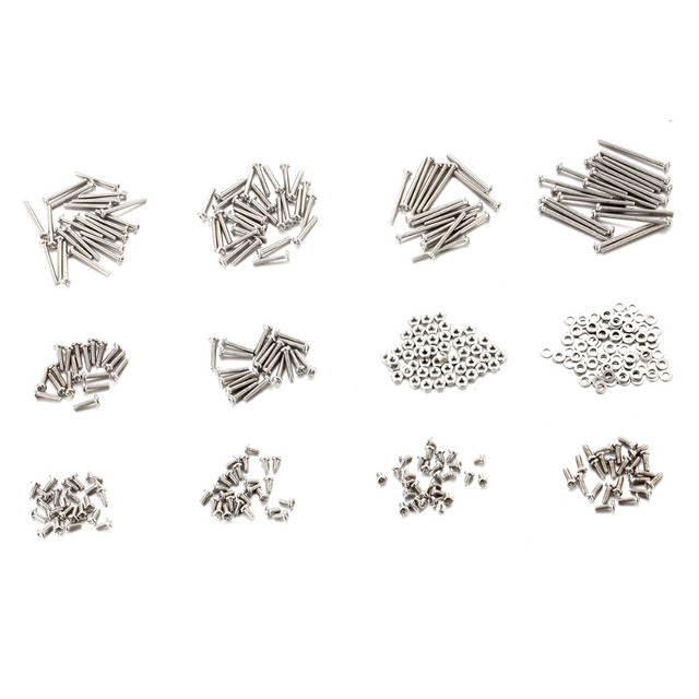 900 PCS M2 Stainless Steel Phillips Head Screws Nuts and 2 Flat Gasket Assortment Kit Hardware Fastener Tool Length 3-25mm