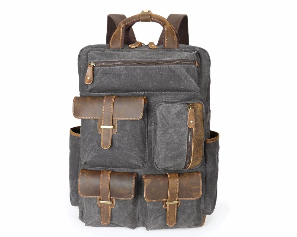 Для мужчин рюкзак для ноутбука 15 дюймов рюкзак холст школьная сумка туристические рюкза ...