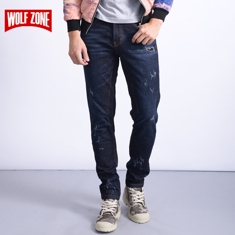 New Arrival Balmai   Jeans   Men Cotton Distressed Homme Mens Famous Brand Clothing Solid Mid Midweight Winter Autumn Full Length