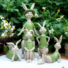 Lovely Couple Rabbits Figurine Ornaments Creative Wedding Decoration Accessories Resin Animal Statues Sculptures Crafts