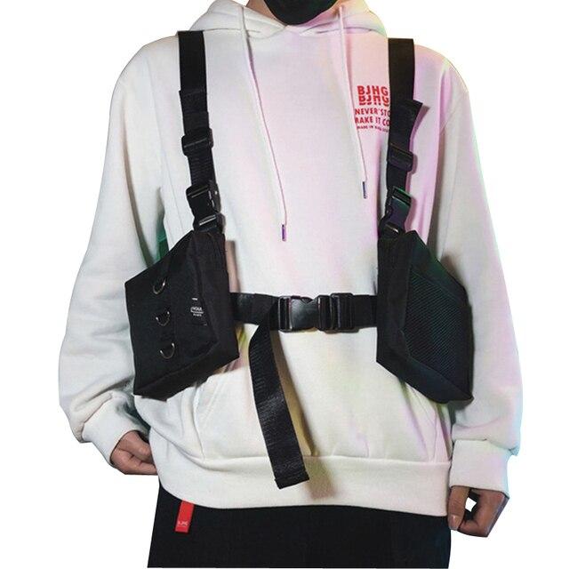 מערב היפ הופ Streetwear פונקציונליים גברים מותן חבילות תיק מתכוונן חזיית איש טקטי כתף שקיות Rig חזה תיק 501