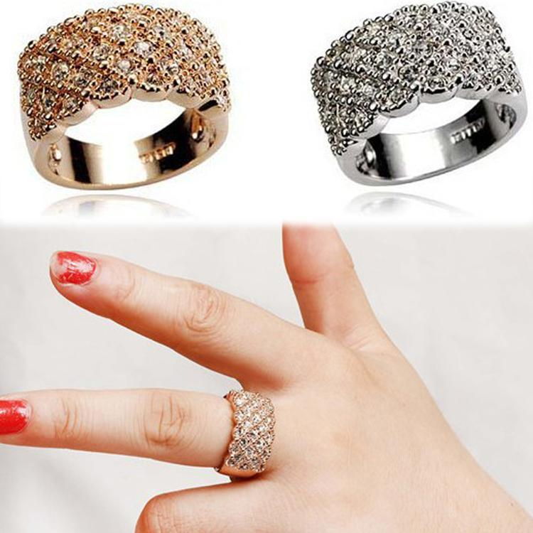 Luxury Korean Style Full Embedded Artificial Sparkling Female Big