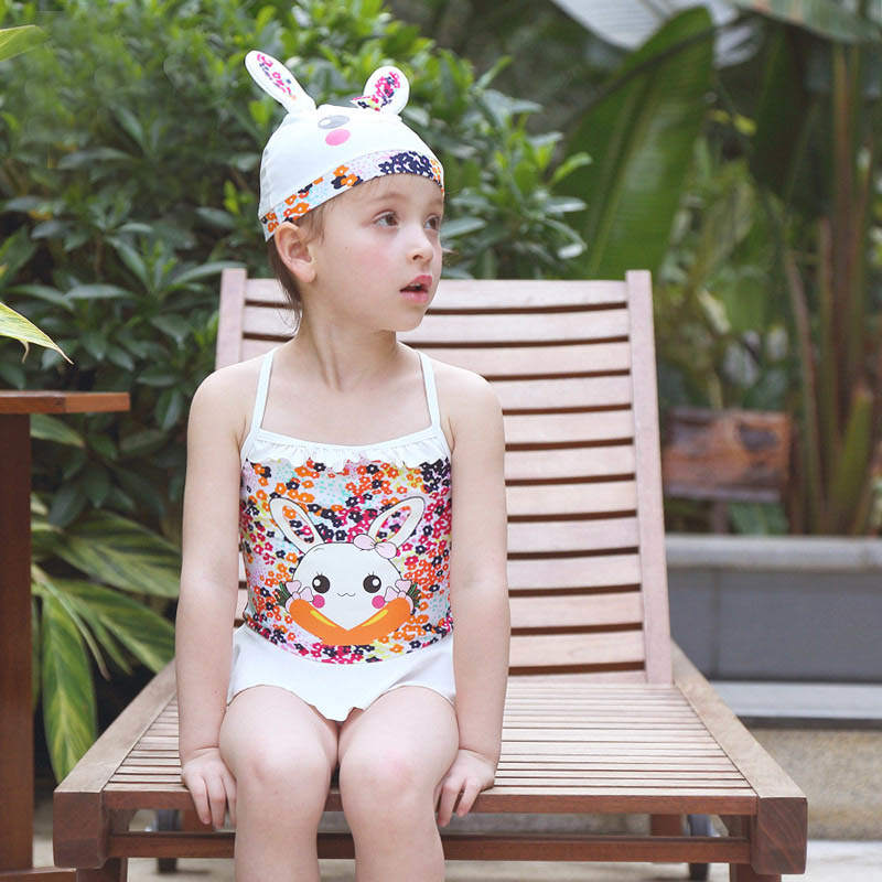Swimwear for Baby Girls Princess One Pieces Swimsuit Kids Ruffled Siamese Floral Rabbit Dress Swimming Suit For 3-7yrs Girl