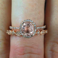 14K Rose Gold Womens Close Ring Style Zircon Diamond Round Jewelry Bizuteria Engagement Geometric Gemstone Anillos De ring 2019
