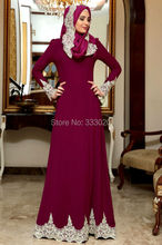 Long Sleeves Fuchsia Jersey White Lace Appliques Hijab Evening Dress Arabic Evening Gown Islamic Party Dress