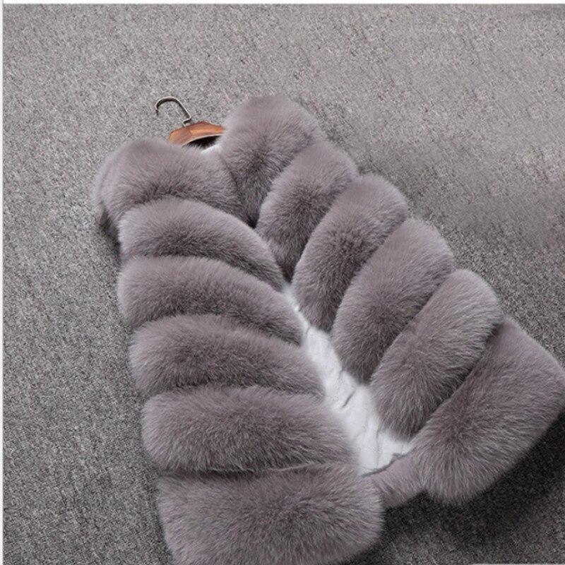 New Design 2018 Fashion Winter Women Fur Vest Faux Fox Fur Vests Woman Fake Fur Coat Jacket Female Ladies Fur Coats Size S-XXXL