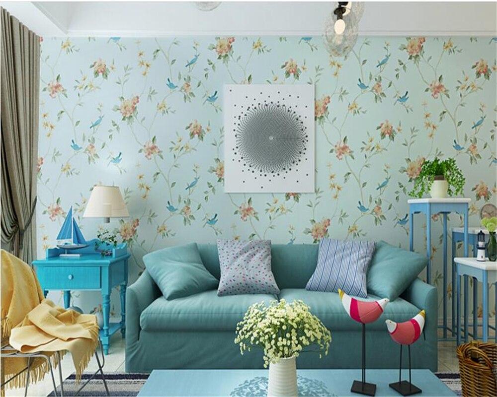 beibehang Nonwoven American Country Garden Birds Wallpaper Pastoral Mediterranean Bedroom Living Room Background papel de parede