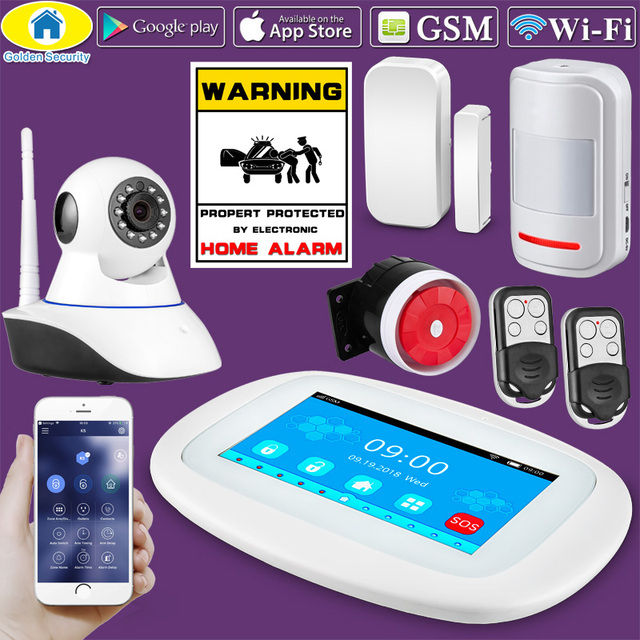 2019 4.3 inch Touch Screen Wireless WIFI GSM Home Burglar Security LCD Touch Keyboard GSM SIM Alarm System Sensor Voice DIY