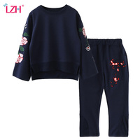 LZH 2017 Autumn Winter Baby Girls Clothes Set Embroidered T Shirt Pants 2pcs Outfits Kids Sport