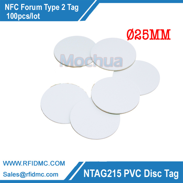 100pcs ISO14443A NFC Round Tag RFID Smart Tag NTAG215 Chip PVC Coin Card for All NFC enabled devices