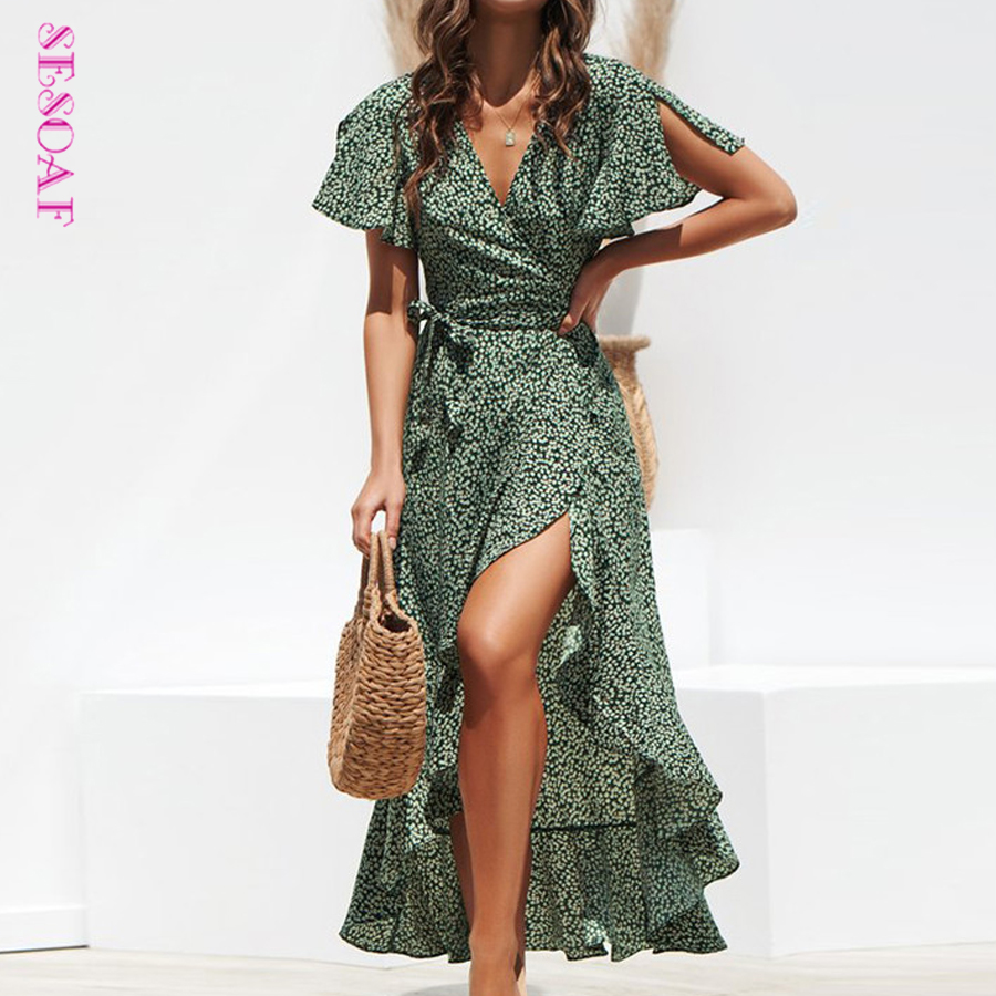 Long Chiffon <font><b>Dress</b></font> <font><b>Floral</b></font> <font><b>Print</b></font> <font><b>Boho</b></font> Ruffles Summer <font><b>Beach</b></font> Maxi <font><b>Dress</b></font> Women <font><b>Sexy</b></font> Side Split Deep <font><b>V</b></font> Neck <font><b>Sexy</b></font> Party <font><b>Dress</b></font> Sundress image