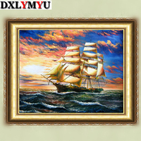 Needlework Diy Diamond Painting Patchwork 40 50cm Boat Painting Square Diamond Full Rhinestone Sticker Painting