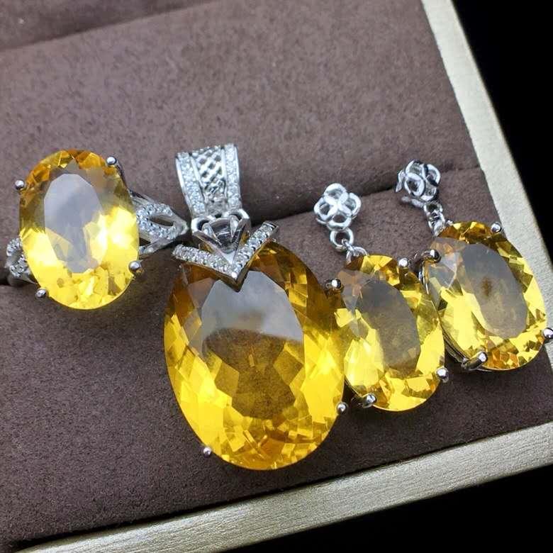 Huang Shuijing bague boucles d'oreilles collier ensemble trois pièces Super valeur 925 argent Seiko mosaïque