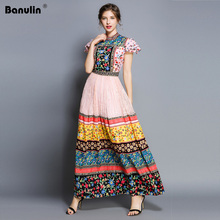 Womens Clothing Runway Fashion 2019 Floral Print Holiday Dresses O-neck High Waisted Floor Length Long Boho Dress Party