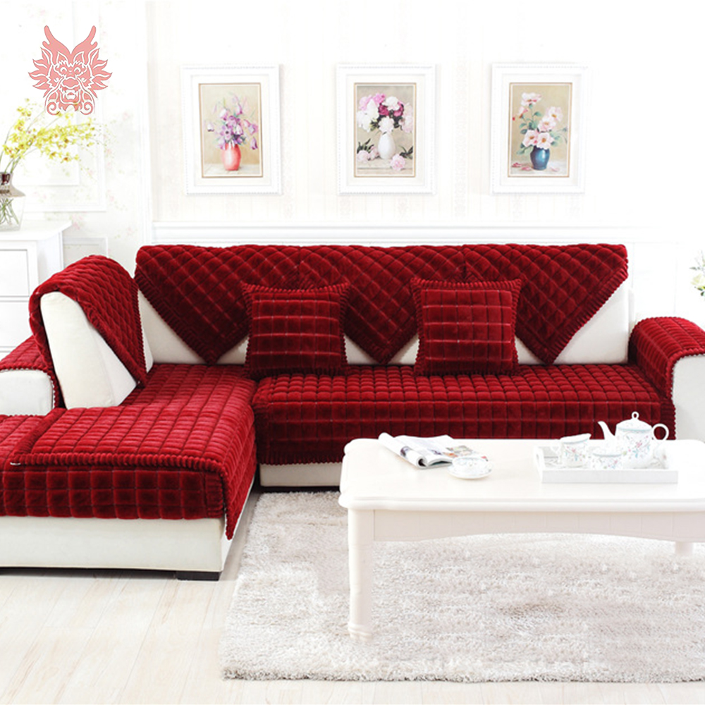 Red Pink Purple Plaid Sofa Cover Plush Rabbit Fur Quilting Sectional  Slipcovers Fundas De Sofa Couch Furniture Covers SP4335 In Sofa Cover From  Home ...