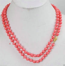 "AA>>> long 35 ""8mm japon rose corail collier de perles rondes de qualité AAA(China)"
