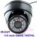 "Free Shipping  Dome camera 700TVL 1/4"" CMOS with IR-CUT  24 IR  waterproof/weatherproof cctv outdoor camera"
