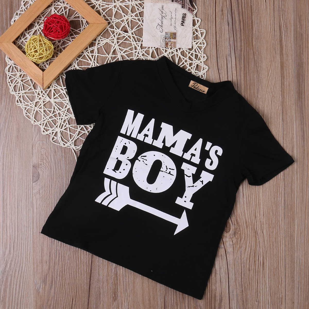 4c0ac6ab ... 2018 Kids Mama Boy Printed Tops Mama Baby Boys Short Sleeve Arrow Black  Cotton T Shirt ...