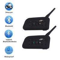 Motorcycle Helmet Bluetooth Wireless Headset Intercom 6 Riders Bluetooth Headset 1200M Intercomunicador BT Interphone V6 2Pcs
