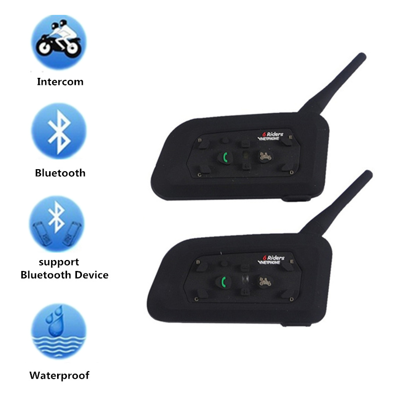 Casque moto Bluetooth casque sans fil Interphone 6 coureurs casque Bluetooth 1200 M Intercomunicador BT Interphone V6 2 pièces