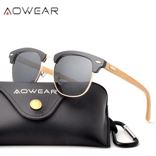 AOWEAR Classic Brand Bamboo Pilot Sunglasses Men Retro Small Polarized Wood Sun Glasses Women Fashion Wooden Glasses Gafas Sol