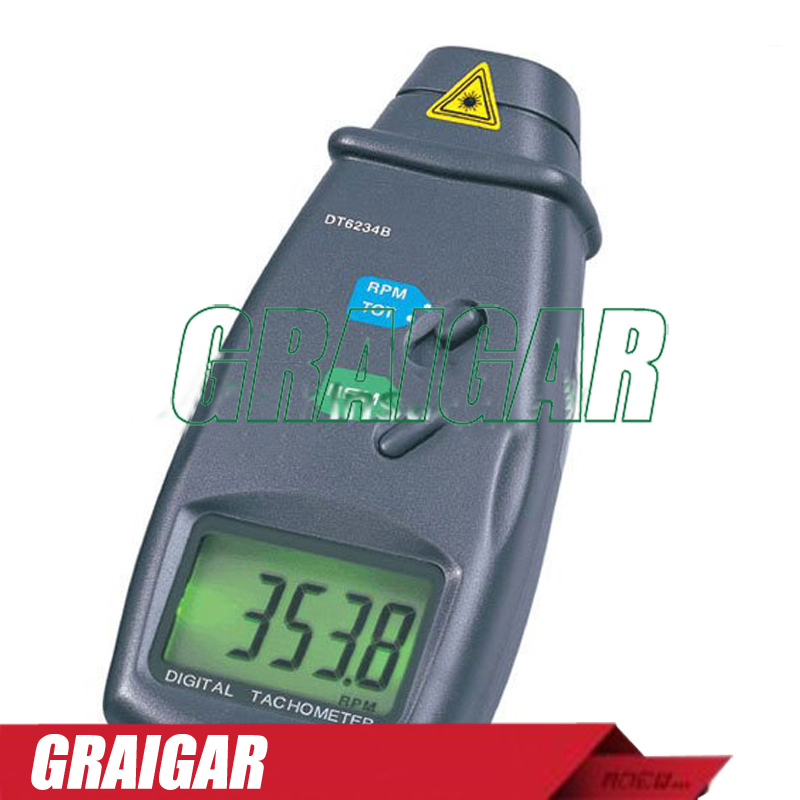 Digital Laser Photo Tachometer DT6234B RPM Non Contact Tach Photoelectric Tachometer Fast Shipping cem high quality digital tachometer rpm 5 digits 31mm blue backing lcd display dt 6236b photo contact tachometer