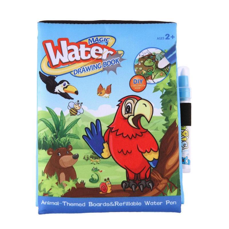 Волшебная книга воды рисования вода книжка-раскраска Kids Животные книги живопись с Волшебное перо Детские развивающие Doodle картина доска