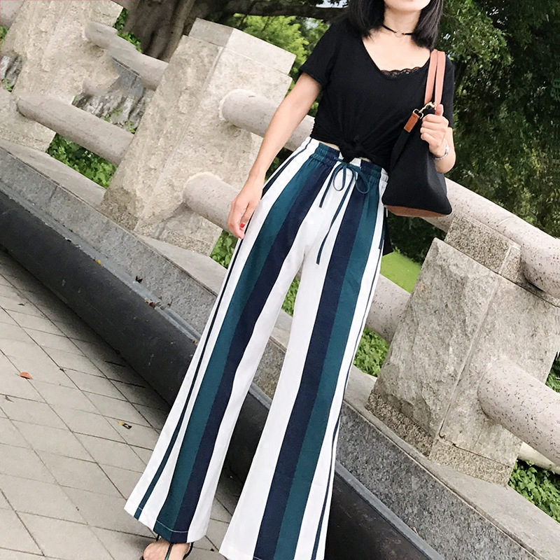 New Fashion Wide Leg Pants Woman High Waist Loose Trousers Women Casual Stripe Palazzo Pants