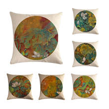 Chinese Retro Painting Style Lotus Cushion Covers Office Car Sofa Chair Home Decoration Cushion Cover Pillow Case ZY25(China)
