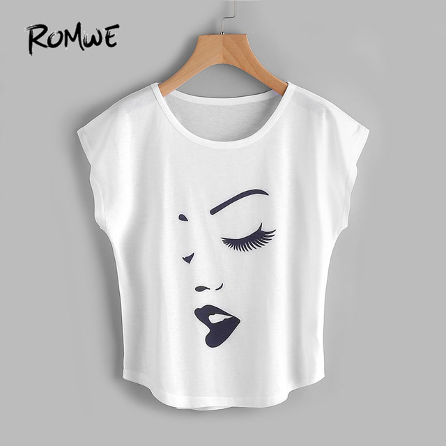 31565d64b0f ROMWE Face Print Front Cap Sleeve Curved Hem T Shirt Summer Short Sleeve  Casual Top White Graphic Round Neck T-Shirt