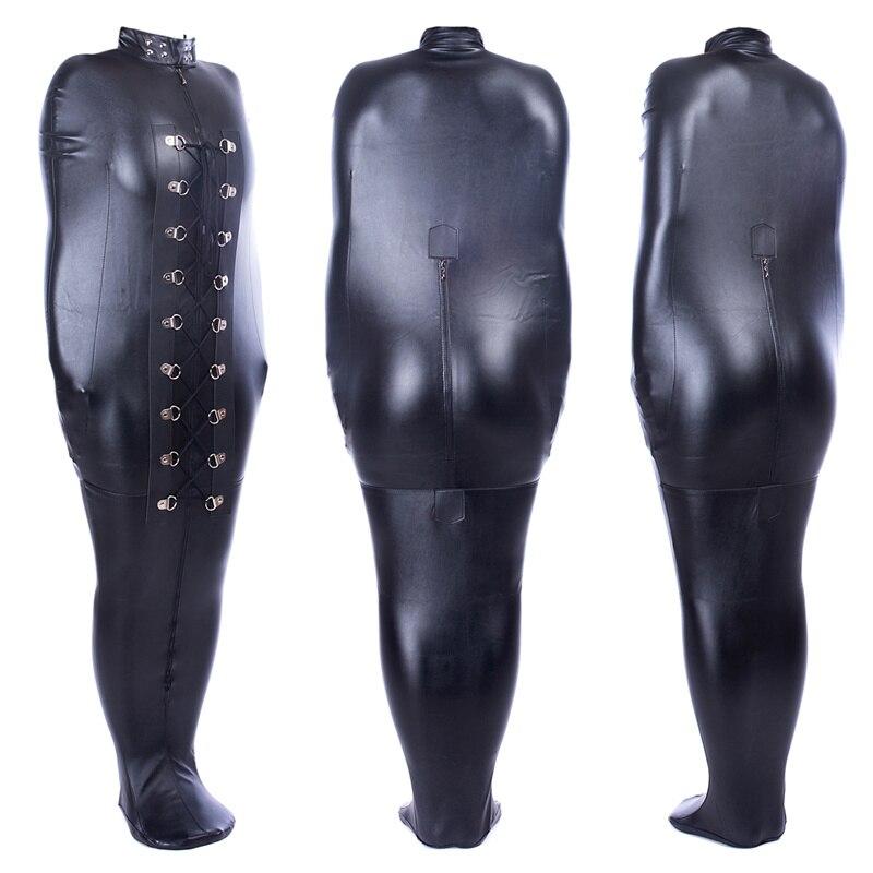 PU Leather Mummy Bag BDSM Body Arm Bondage Restraints With Open Head Adult Game Mummy Bindspeaker