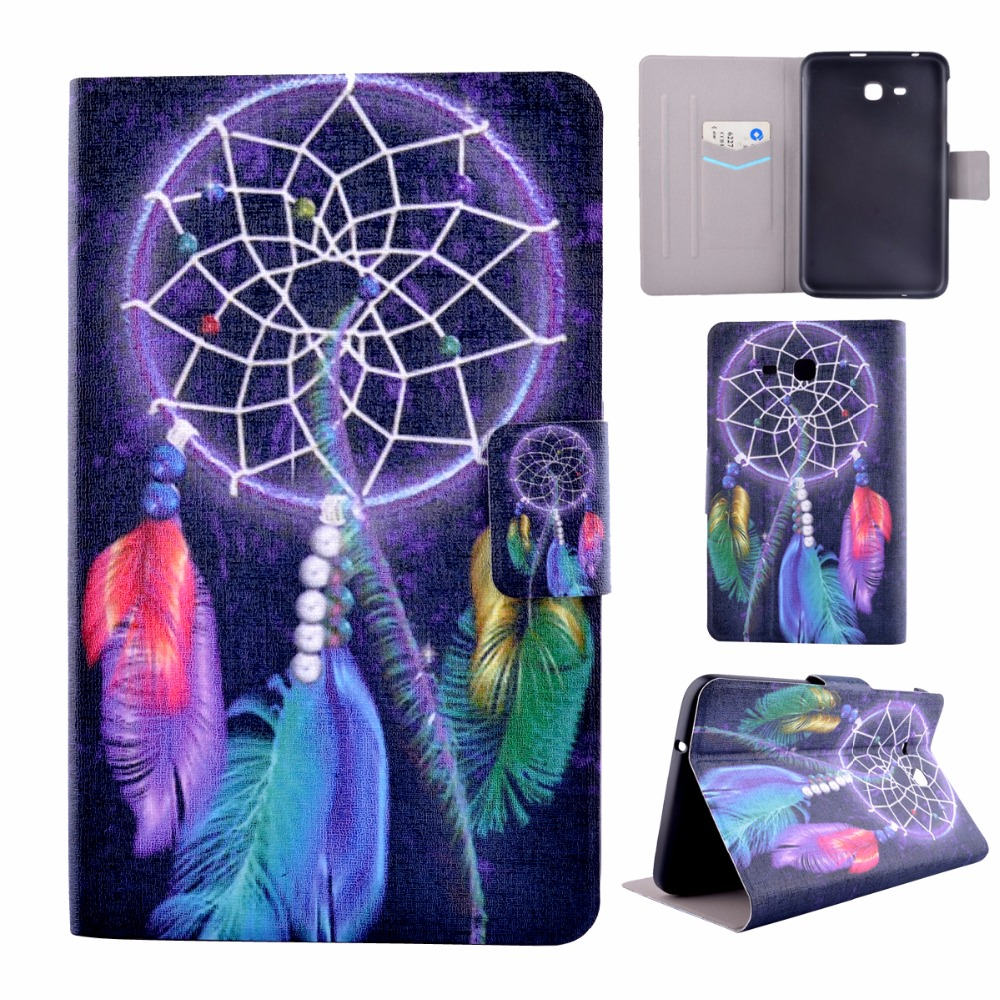 Tablet Flip Painted PU Leather Cases for Samsung Galaxy Tab 3 Lite 7.0 T110 T111 T113 T116 Covers Shell Housing Stand Bag Shield