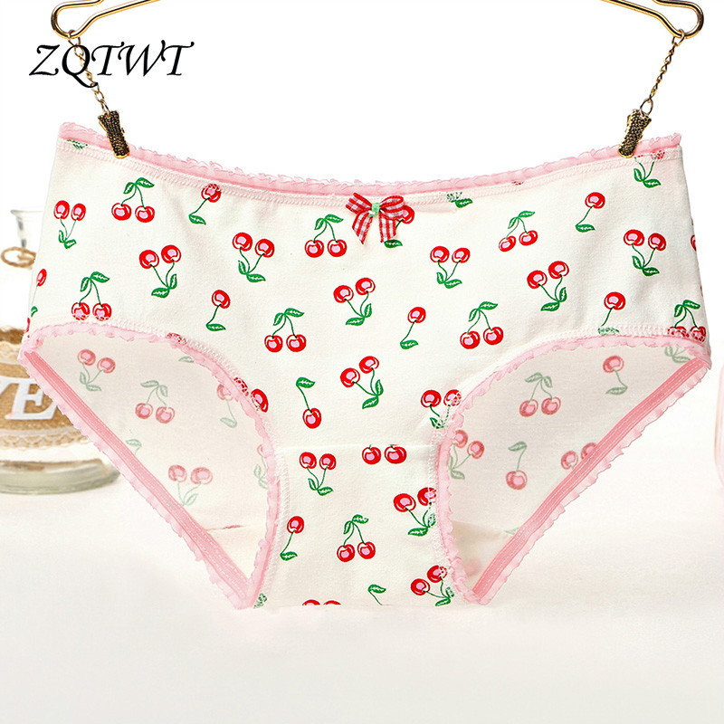 ZQTWT Hot Brand Fruit Printed Cheery Mango Lingerie Cotton Panties Seamless Breathable Panty Sexy Briefs Women Underwear J3NK209