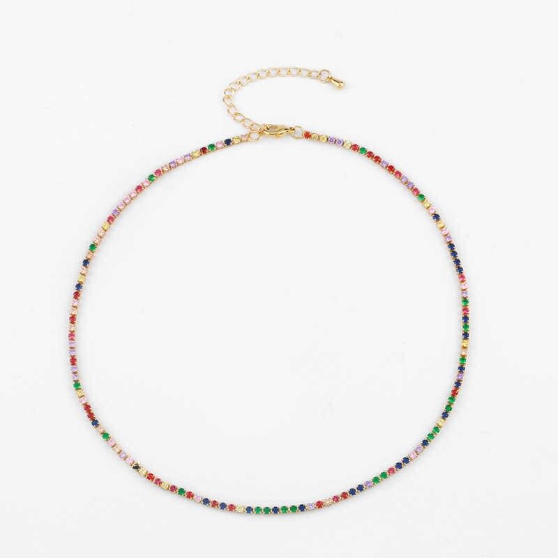 Choucong trendy colorful Zircone bar collana pendenti geometria arcobaleno cz collane del choker donne dichiarazione dei monili di Modo