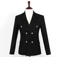 New design men suits jacket solid color double breasted wedding tuxedos jacket custom made groom best man suits jacket