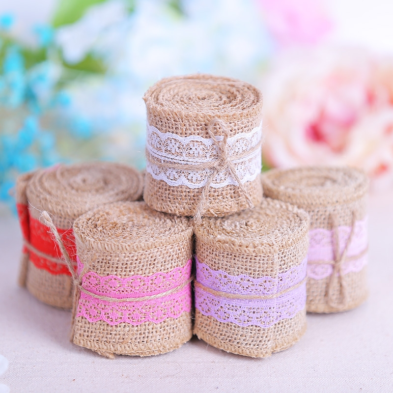 Length 2M Wide 6cm Linen Fabric Ribbon Lace Edge Linen DIY Wedding Gift Decoration Christmas Gifts Craft Scrapbooking Lace Trim
