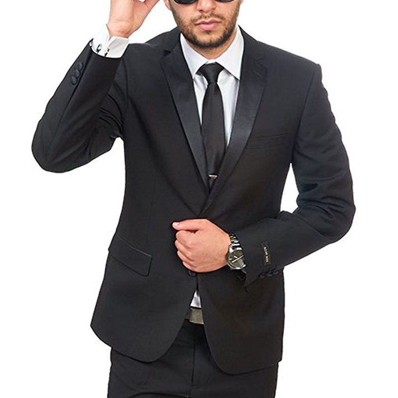 Black Wedding Groomsmen Tuxedos For Men Classic Style Two Piece Business Slim Fit Men Suts Set Jacket Pants New Fashion