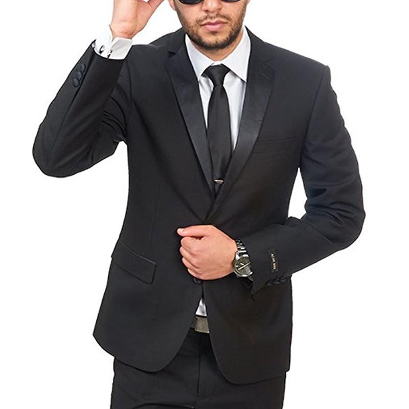 Black Wedding Groomsmen Tuxedos For Men Classic Style Two Piece Business Slim Fit Men Suts Set Jacket Pants New Fashion