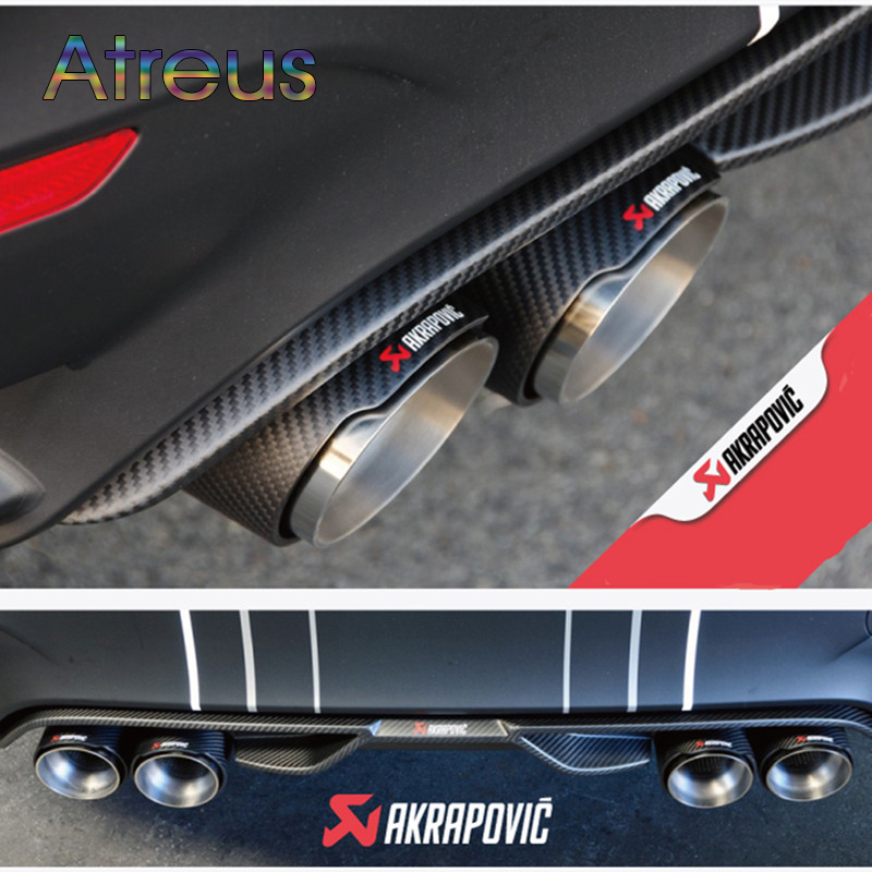 Atreus 1Pcs Inlet (63mm) Outlet (101mm) Akrapovic Carbon Fiber Exhaust End Tip Exhaust pipe For BMW Audi VW Accessories 1pc inlet 51mm 54mm 57mm 60mm 63mm outlet 89mm 101mm car akrapovic carbon fiber exhaust tip dual tips noses end pipe blue burnt
