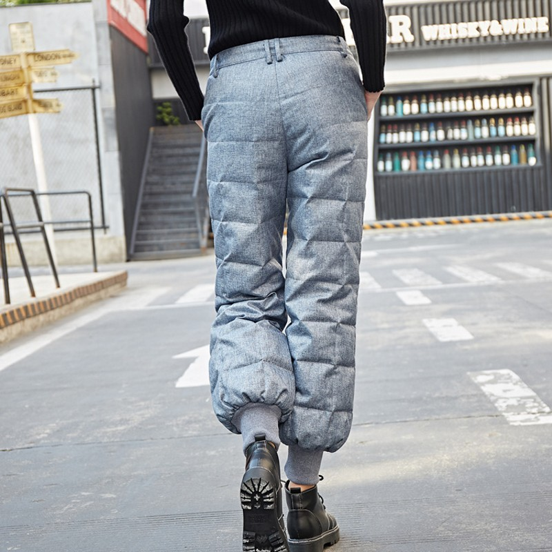 2019 Women Down   Pants     Capris   Winter High Elastic Waist female Fashion Slim Warm Thickening Duck Down   Pants   skinny Trousers 5XL