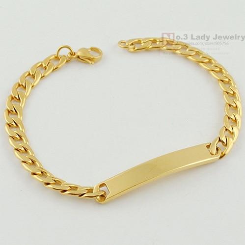 GOKADIMA Sideways Stainless Steel Chain ID Cuff Bracelet Women Fashion Gold Color Jewellery, Wholesale bijioux,WB121